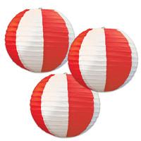 Red & White Striped Round Paper Lanterns
