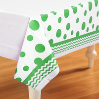 Chevron/Dots Green Plastic Tablecover