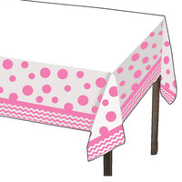Chevron/Dots Pink Plastic Tablecover