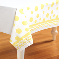 Chevron/Dots Yellow Plastic Tablecover
