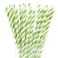 Green and White Striped Paper Straws