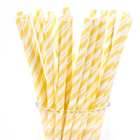Yellow and White Striped Paper Straws