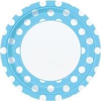 Pastel Blue and White Dot Dinner Plates