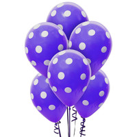 Purple and White Dots Latex Balloons