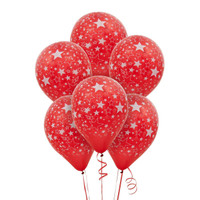 Red and White Stars Latex Balloons