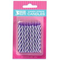 Purple Stripe Birthday Candles (24)