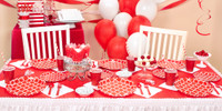 Classic Red Quatrefoil Party in a Box
