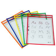 Reusable Dry Erase Pocket, Assorted Primary Colors (#5 pack)