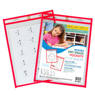 Reusable Dry Erase Pocket, Red (#30 Pack)