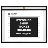 Shop Ticket Holders, Stitched, Both Sides Clear, Open Long Side (Box 25)