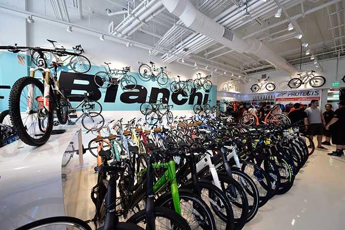 Bike Attack Playa Vista Runway Grand Opening Cycling Bianchi brand display