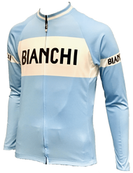 Bianchi | Eroica L/S Full Zip Blue / White Jersey | Apparel | 2019