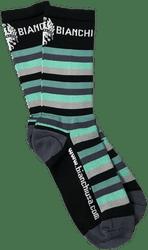 "Bianchi | Black/ Celeste Striped Bianchi Socks 7"" Cuff | Apparel | 2020"