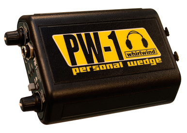 Whirlwind PW-1 Personal Wedge - This is a high powered stereo headphone driver for use with on stage in-ear monitoring systems. The PW-1 is a hardwired beltpack unit that has left and right balanced, line level XLR inputs.