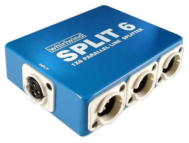 Whirlwind SPLIT 6 - Use this handy box when you need to split a line level signal up to 6 times. Features 1 female XLR input wired to 6 male XLR outputs. Perfect when adding extra amplifiers to a system, connecting multiple powered speakers, splitting intercom lines, etc.