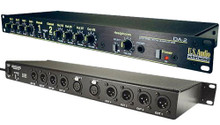 Whirlwind DA-2  - This device drives multiple isolated line feeds from a single input source. It is ideal for driving lines to multiple amps in live sound applications, distributing audio to multiple tape decks, feeding signals to multiple zoned locations, etc.