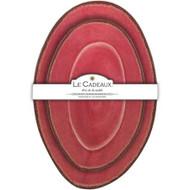 """Le Cadeaux Antiqua Red Nesting Platters S/2 Oval 16""""L 12.5""""L"""