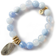 Lenny and Eva Blue Lace Agate Gemstone Bracelet, 10mm