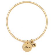 "Lenny & Eva Token Bangle Bracelet, ""MOM"""