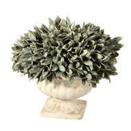 "Dusty Bayleaf Mound In Decorative Urn, 10"", Artificial"