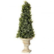 "Flocked Sage Cone Topiary, 24"" Artificial"