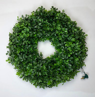 "16"" PE MIXED ENGLISH BOXWOOD WREATH WITH CLEAR LIGHTS"