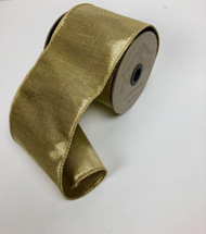 "Light Gold Metallic Dupioni 4"" Ribbon & Bows"