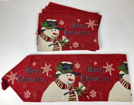 Snowman Table Runner and Placemats   5-Pc Set