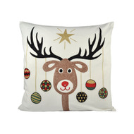 "Donner Reindeer Pillow with Hanging Ornaments   20"" X  20"""