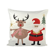 "Santa and Reindeer Friends Pillow 20"" x 20"""