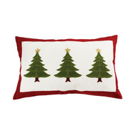 "Triple Evergreen Tree Pillow with Red Trim 16"" x 26"""