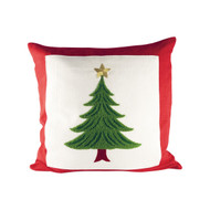 "Evergreen Tree Pillow with Red Trim 20"" x 20"""