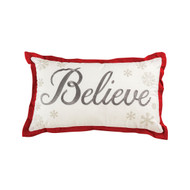 "Believe Pillow White and Grey with Red Trim  16"" x 26"""