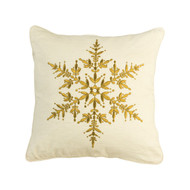 "Cream Pillow With Gold Snowflake Design 20"" x 20"""