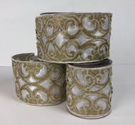 "White Velvet with Platinum Filigree Wired Ribbon 4"" x 5yd."