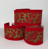 "Red Velvet with Green Vine, Gold Glitter Wired Ribbon 4"" x 10 yd."