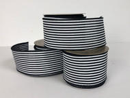 "Black and White Striped Wired Ribbon  2.5"" x 10 yd."