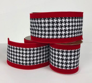 "Red Velvet Edge Glittered Black and White Checked Wired Ribbon 4"" x 10 yd."
