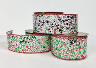 "Sheer White Mesh with Red and Green Glitter Ribbon 2.5"" x 10 yd."