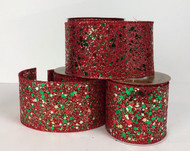 "Sheer Red Mesh with Red and Green and Gold Glitter Wired Ribbon 4"" x 10 yd."
