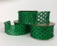 "Green Glitter Mesh Lattice Wired Ribbon 2.5""x 10 yd."