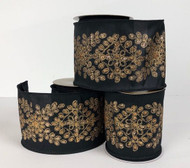 "Black Dupion with Gold Medallion Wired Ribbon 4"" x 10 yd."
