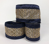 "Navy and Champagne Diamond Glittered Satin Ribbon 4"" x 5 yd."
