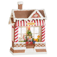 "10"" Dog Barkery  Musical Lighted Water Gingerbread House"