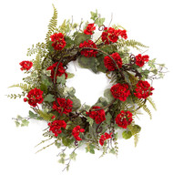 Geranium Ivy Fern Wreath
