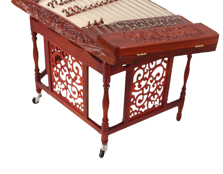 Concert Grade Carved Sandalwood Yangqin Instrument Chinese Hammered Dulcimer 402 Type with Accessories