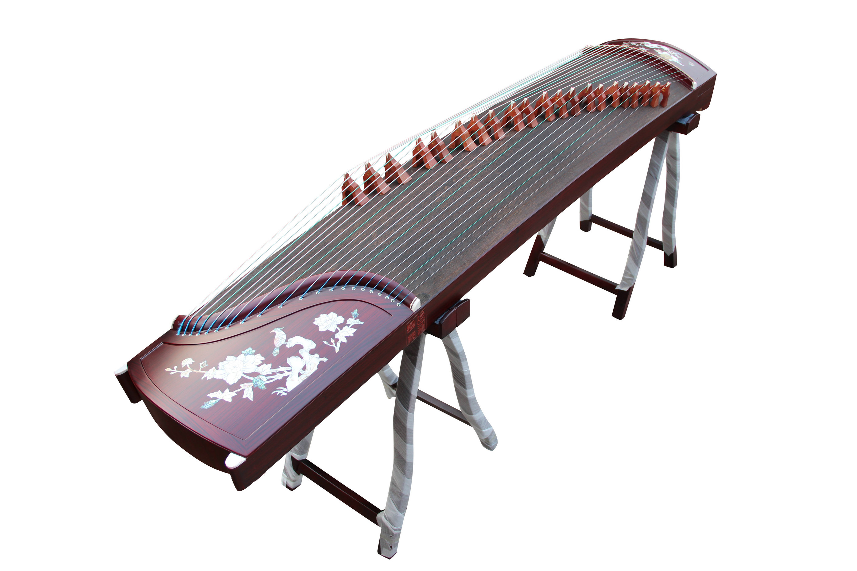 Professional Bird & Flower Sandalwood Guzheng Instrument Chinese Zither