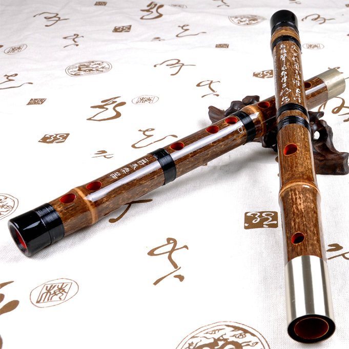 Concert Grade Chinese Purple Bamboo Flute Dizi Instrument with Accessories