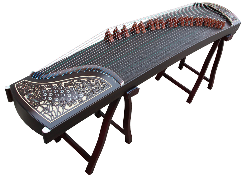 Professional Peacock Carved Purple Sandalwood Guzheng Chinese Zither