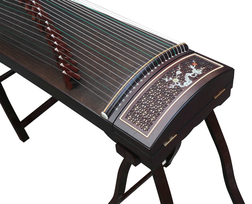 Professional Carved Purple Sandalwood Guzheng Instrument Chinese Koto